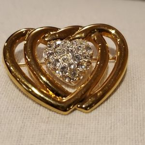 Vintage Gold Tone 3 Hearts Monet Brooch